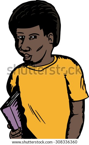 Isolated illustration of a single male African student