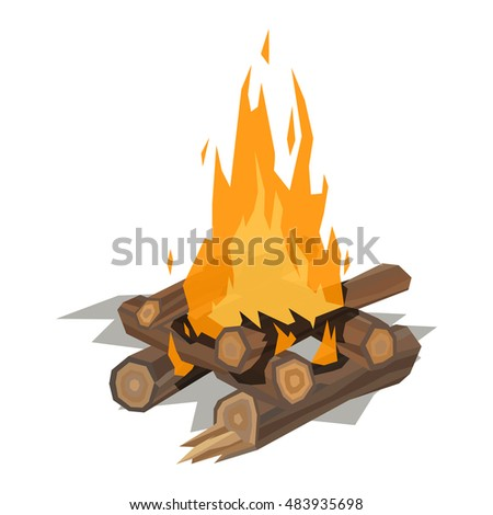 Isolated illustration of campfire logs burning bonfire. Bonfire on white background. Vector bonfire isolated and wood explosion glowing bonfire isolated. Nature burning blazing power vector.