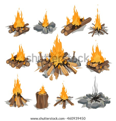 Isolated illustration of campfire logs burning bonfire design elements. Nature wooden stack yellow different camping fire with smoke