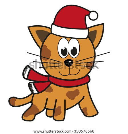 Isolated illustration of cat (tiger) with festive apparel - Santa's hat and red scarf - stock vector