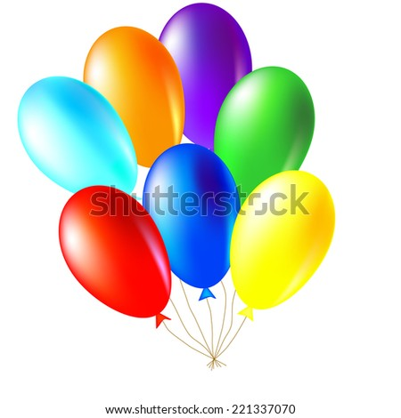 Isolated illustration of colored balloons