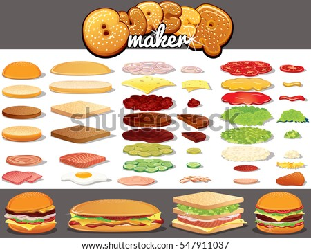 Isolated Ingredients for Burgers, Hamburgers, Sandwiches. Create your Own Fast Food Meal from Bread Bun and Toast, Various Sauces, Beef  Pork Meat, Tasty Cheese, Fresh Vegetables and other Components