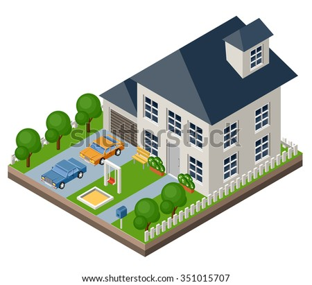 Isolated isomatic cottage. Country life. Garage. Green grass. Lawn. Swing. Vector illustration