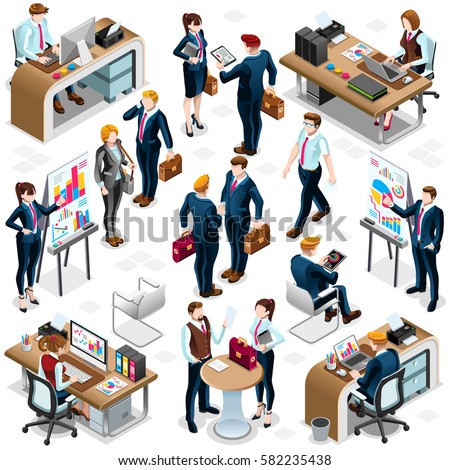 Isolated Isometric Business Training People. 3D meeting desk infographic crowd standing walking people icon set white background. Business Training Meeting conference white background isometric vector