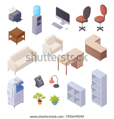 Isolated isometric elements of office interior with desk cooler chairs computer sofa printer book shelves 3d vector illustration