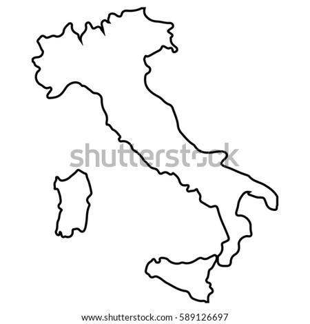 Isolated Italian map on a white backgrond, Vector illustration