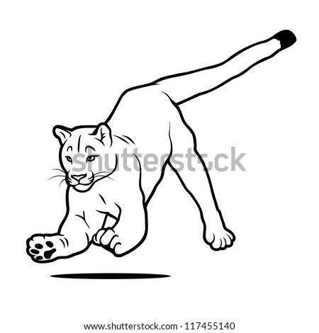 Isolated jumping cougar - vector illustration - stock vector