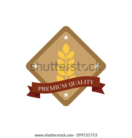 Isolated label with a wheat icon and text on a white background
