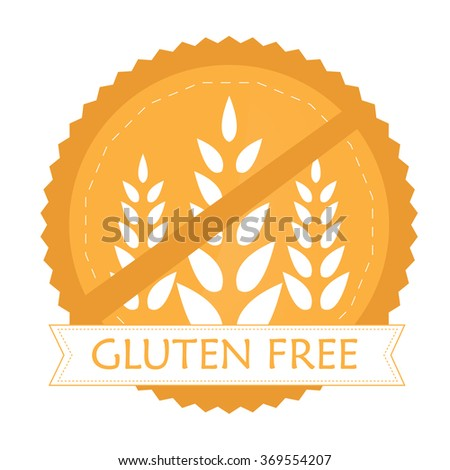 Isolated label with text for gluten free products on a white background