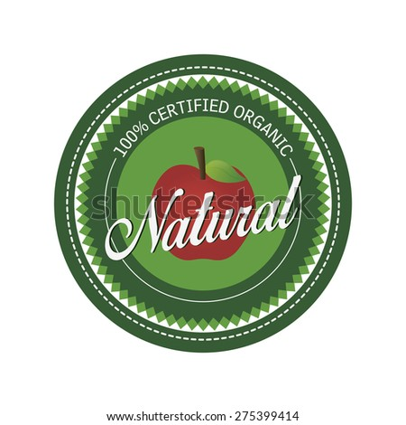 Isolated label with text for organic products. Vector illustration