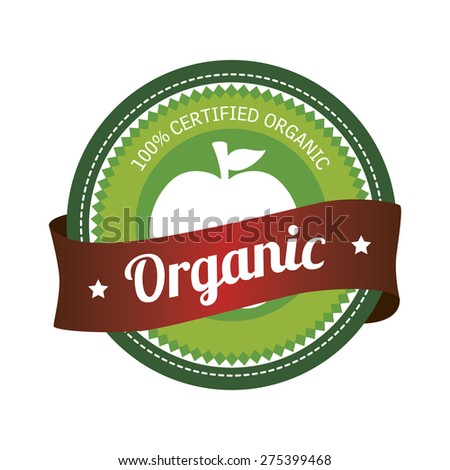 Isolated label with text for organic products. Vector illustration - stock vector