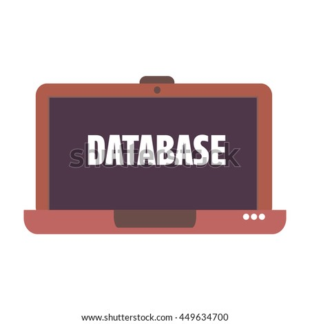 Isolated laptop with the word database written on its screen - stock vector