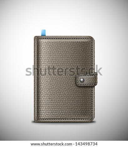 Isolated leather notebook. Eps 10 - stock vector