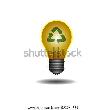 Isolated lightbulb with a recyclable icon, Vector illustration