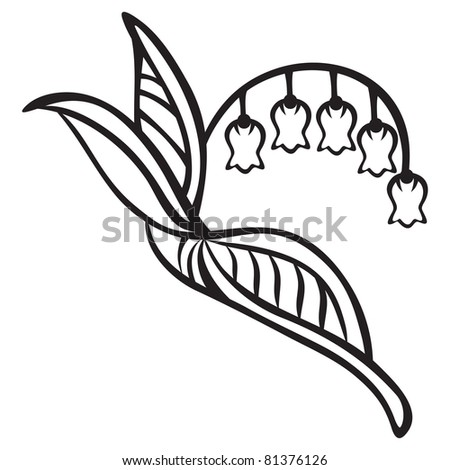 Isolated lily of the valley on black silhouette