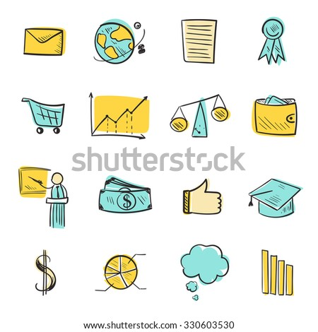 Isolated line web icons set. Hand drawn vector elements for business