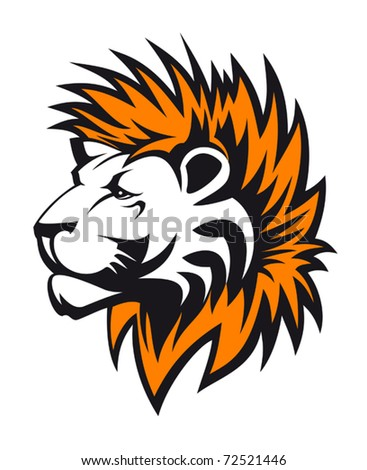Isolated lion head as a symbol or tattoo. Jpeg version also available in gallery - stock vector