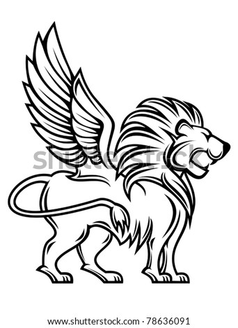 Isolated lion with wings for heraldry design, such a logo. Jpeg version also available - stock vector
