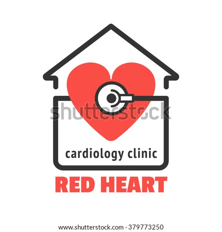 Isolated logo with red heart and stethoscope for cardiology clinic, cardiac care center. Red heart with stethoscope vector icon for your business. Cardiology icon. Modern clinic logo design - stock vector