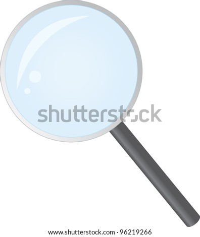 Isolated magnifying glass with reflection - stock vector
