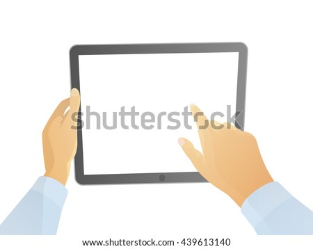 isolated male hands using tablet pc with white screen. cartoon hands using pad illustration. flat vector hands hold tablet pc design isolated. finger touching the screen on tablet pc. people using pad
