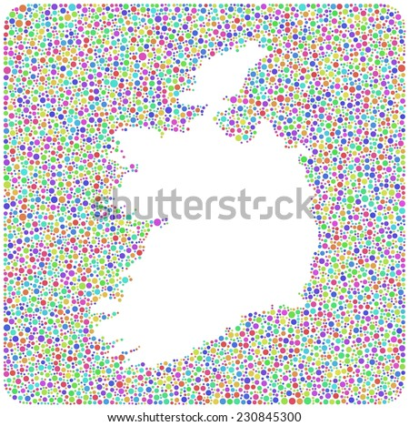 Isolated map of Ireland into a square icon. Mosaic of harlequin circles.  A number of 6423 little circles are accurately inserted into the mosaic - stock vector