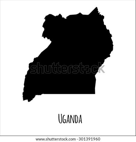 Isolated map of Uganda. Black on white background. Vector illustration  - stock vector