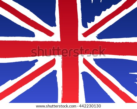 Isolated marker hand-drawn United Kingdom flag. Vector illustration of Union Jack - flag of  United Kingdom of Great Britain and Northern Ireland. England, Scotland, Wales and Ireland national symbol. - stock vector