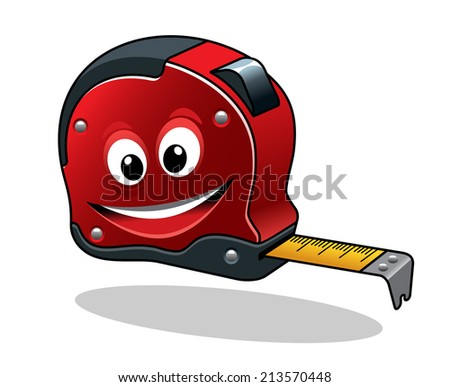 Isolated measuring tape tool in cartoon character style for construction concept design  - stock vector