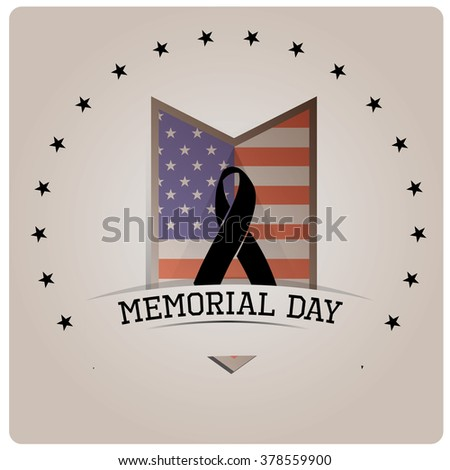 Isolated medal with the american flag and a peace symbol on a grey background for memorial day - stock vector