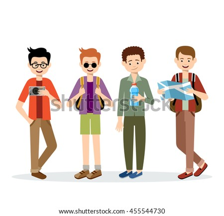 Isolated men travelers on a white background. Vector