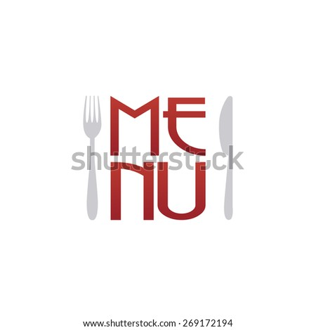Isolated menu icons with text on a white background. Vector illustration - stock vector