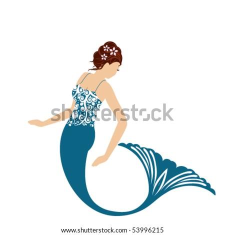Isolated Mermaid - stock vector