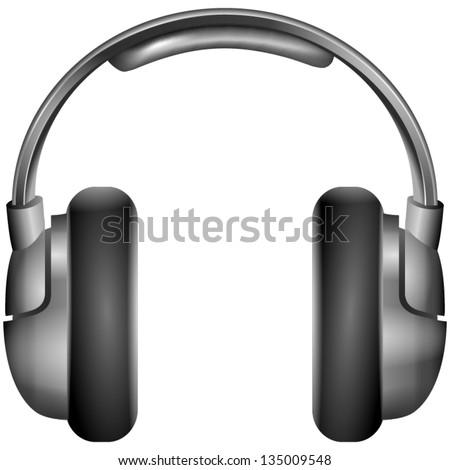 Isolated metallic headphones eps10 vector illustration - stock vector