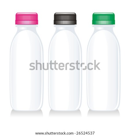 isolated milk glass bottles - stock vector