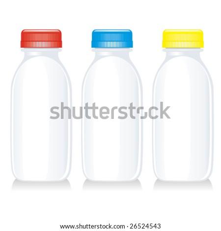 isolated milk glass bottles - stock vector