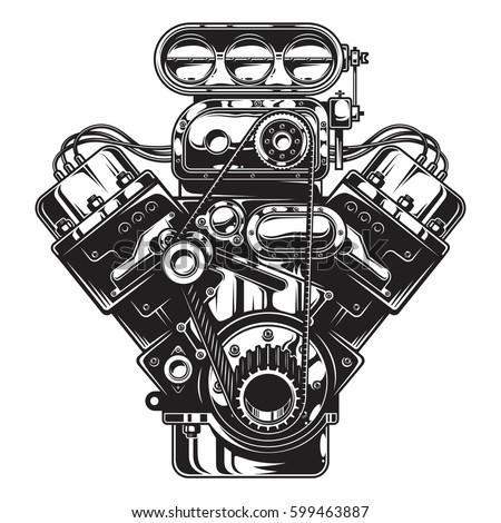 V8 Engine Clipart Carburetor Stock Image...
