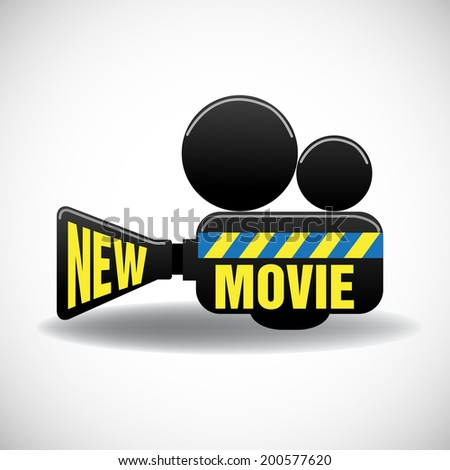 Isolated movie projector with the text new movie written with yellow letters - stock vector