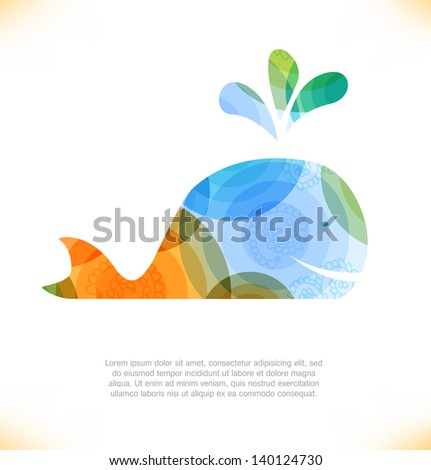 Isolated multicolor whale, blower - stock vector