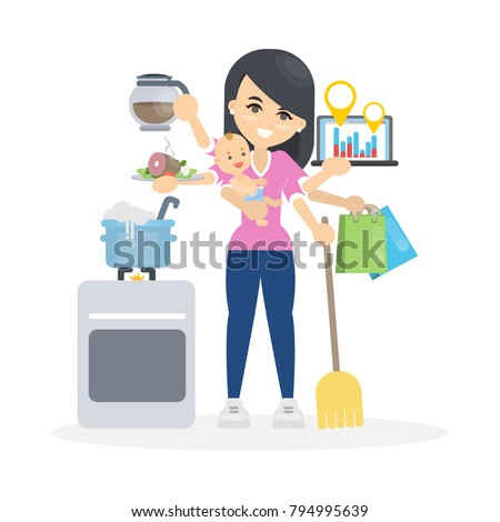 Isolated multitasking woman with six hands.