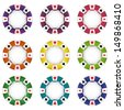 isolated nine colorful poker chip vector illustration - stock vector