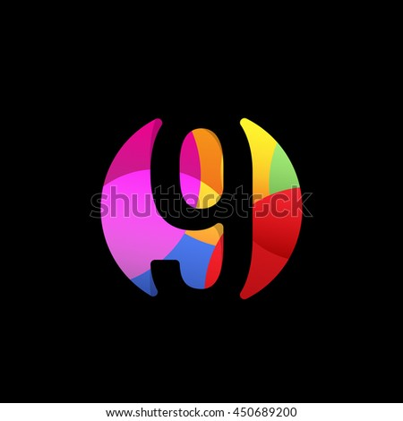 Isolated number 9 in a colorful circle on the black background. Numerology element. Arithmetic nine symbol. Calculator sign. 9th calendar date. - stock vector