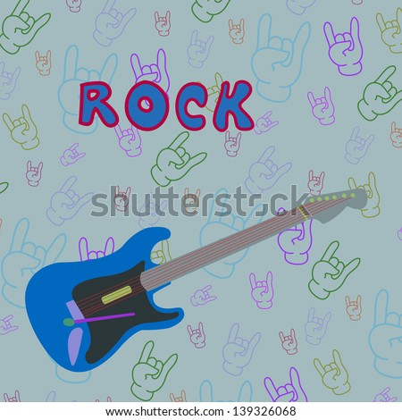 Isolated object electric guitar on rock sign background. Easy edited. Rock style. - stock vector