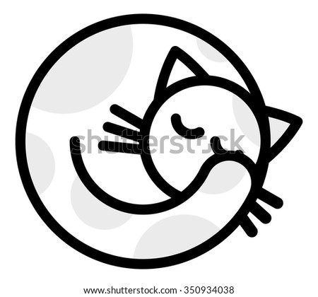 Isolated objects: sleeping white grey cat, on white background, editable vector image, for use as icon, patch, sticker, logo, design element - stock vector
