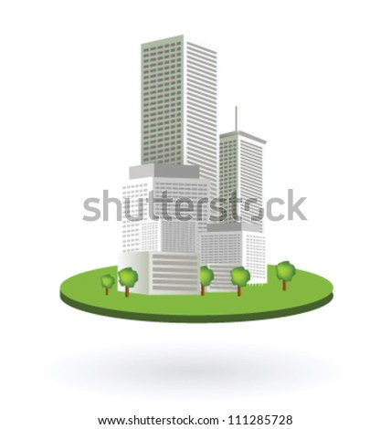 Isolated office buildings as skyscrapers on green area - stock vector