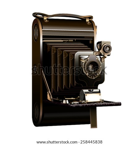 Isolated old film camera extendable on a white background - stock vector