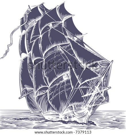 Isolated old sail ship on white background - stock vector