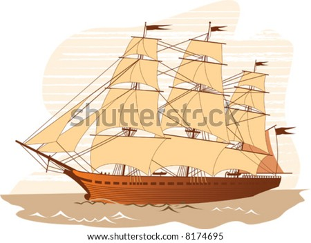 Isolated old sail ship. Vector illustration. - stock vector
