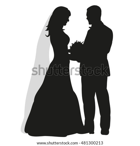 Isolated on white background wedding silhouettes stock vector isolated on white background wedding silhouettes bride and groom happy wedding junglespirit Gallery