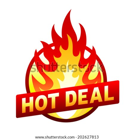 Isolated on white hot deal red price sticker, badge with flame